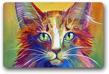 Colorful Cat Art Customized Doormat Entrance Mat Floor Mat Rug Indoor/Front Door/Bathroom/Kitchen and Living Room/Bedroom Mat