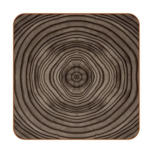 BENNIGIRY Juego de 6 posavasos de piel marrón con diseño de anillo de árbol, taza de café, tazas de cristal, manteles individuales