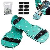 QAZX Aireador de Cesped Zapatos con 8 Correas Ajustables y Hebillas de Metal Escarificador de Césped Zapatos de Uñas para Airear el Césped o en el Patio