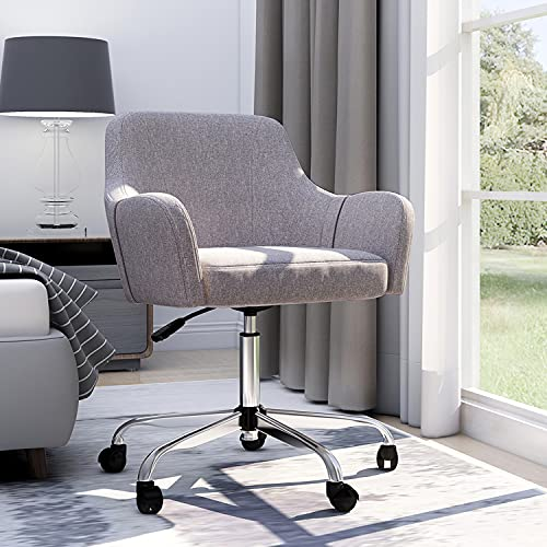Home Office Chair Modern Ergonomic Upholstered Desk Chair Adjustable Swivel Rolling Chair with Arms Cute Mid Century Accent Chair for Living Room Bedroom, Grey