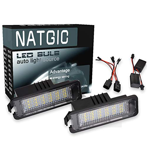 NATGIC Luz LED para Placa de Matrícula 3528 Chips 18SMD Montaje de Lámpara de Matrícula LED Impermeable Can-Bus Incorporado para...