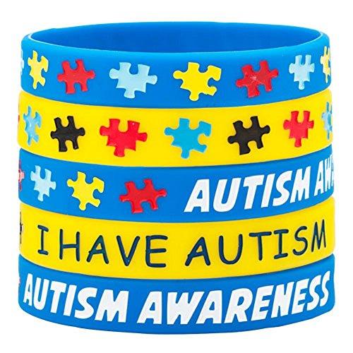 Uniqueen Pulseras con texto en inglés 'I Have Autism Awareness (5 unidades, azul y amarillo)