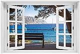 Wallario Poster - Einsame Bank am Meer - Spanien im Sommer