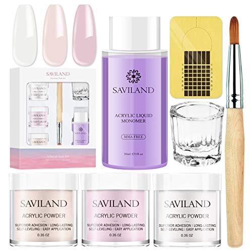 Saviland Acrylic Powder and Liquid Set - Professional Monomer Liquid acrylic powder System, 3 Colors Clear Pink Nude Nail Powder kit for Nail Extension