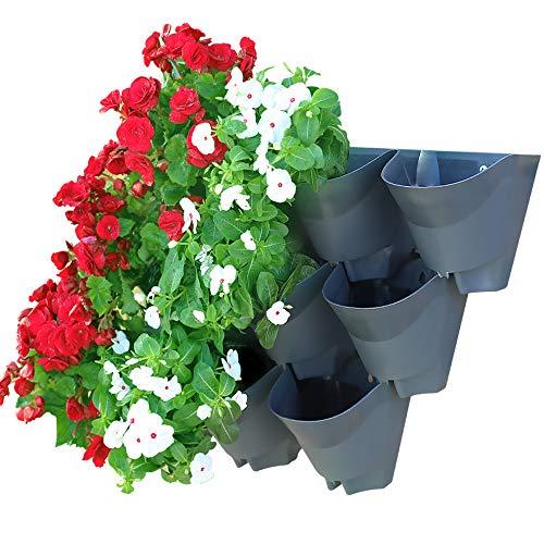 Worth Garten 9 Taschen Pflanzgefäße in 3 Set Selbstbewässerung Vertikal Pflanzenwand Blumentöpfe für Balkon Terrasse Innenhof und Hinterhof, Platzsparend, Silbergrau