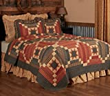 VHC Brands Maisie Luxury King Quilt 120Wx105L Country Patchwork Design, Barn Red