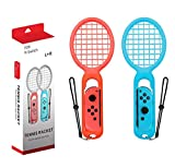 Tennis Racket for Nintendo Switch Joy-Con Controller, Twin Pack Tennis Racket with Adjustable Wrist Straps for Nintendo Switch Game Mario Tennis Aces(Red and Blue)