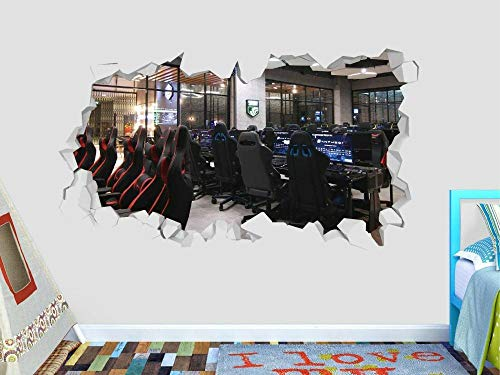 HQSM Pegatinas de pared Máquina arcade sala de juegos calcomanía de pared decoración juego aplastado pegatina 3d vinilo arte