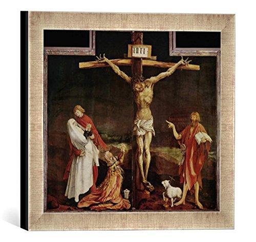Gerahmtes Bild von Mathis Gothart Grünewald Kreuzigung, Kunstdruck im hochwertigen handgefertigten Bilder-Rahmen, 30x30 cm, Silber Raya