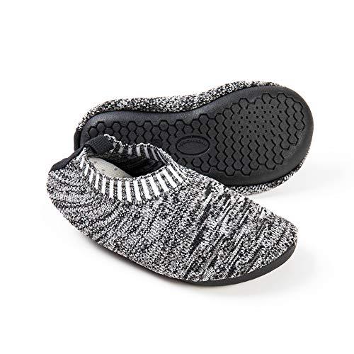 Ruiuzi Zapatillas de Estar por Casa para Niños Chicos Antideslizantes Calcetines Zapatos de Deporte con Suela de Goma (30.5 EU,Gris)