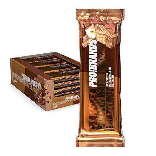 Probrands - Barra de obleas 24x45g - Barra de proteínas cubierta de chocolate con sabor a avellana - Un bocadillo saludable de proteínas sin azúcar agregada, sin aceite de palma y sin gluten