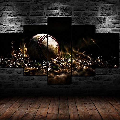 Cuadro Sobre Lienzo 5 Piezas Impresión En Lienzo Ancho: 150Cm, Altura: 100Cm Listo Para Colgar-Viejo Bate De Béisbol Bola Hierba En Un Marco