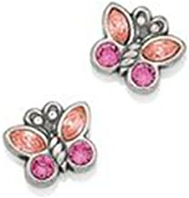 Brighton Pink Crystal Butterfly Sparkle Wings Silver Post Earrings