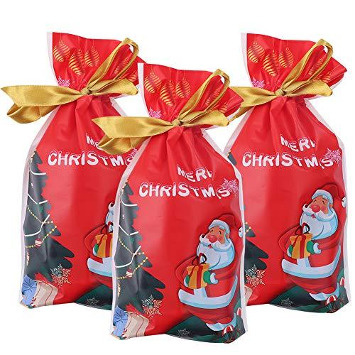 Weihnachten mit Kordelzug,50 stücke Urlaub Rot Rentier Weihnachts Paket Geschenk Süßigkeiten Süße Tasche Kunststoff Weihnachten Goody Bags für Hochzeitstag Frohe (Red-4)