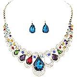 Collar de Cadena Babero Color de Bohemia Estilo Mezclado de Mujeres Pendientes de Joyería por ESAILQ