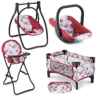 Litti Pritti 4 Piece Set Baby Doll Accessories - Includes Baby Doll Swing, Baby Doll High Chair, Doll Pack N Play, Baby Doll Carrier – 18 inch Doll Accessories for 3 Year Old Girls and Up from Litti Pritti