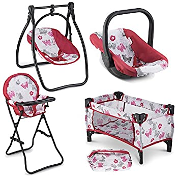 Litti Pritti 4 Piece Set Baby Doll Accessories - Includes Baby Doll Swing Baby Doll High Chair Doll Pack N Play Baby Doll Carrier – 18 inch Doll Accessories for 3 Year Old Girls and Up