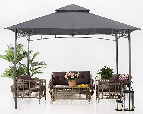 ABCCANOPY 3.35x3.35m Patio Pavillon für Patios Doppeldachweichdach Garten Hinterhof-Pavillon für Schatten und Regen,Darkgrau