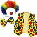 Clown Costume - Clown Nose Clown Wig Bow Tie and Vest - 4 Pc Clown Dress Up Accessories by Tigerdoe