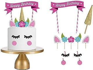 Love77 Cake topper, DecoracionesPasteles/Cumpleaños, Unicornio Multicolor, 11 uds