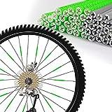 LSEEKA 48 Stück Speichenreflektoren Fahrrad Reflektoren Fahrrad Wasserdicht Einfache Montage 360 Grad Sichtbarkeit Sicheres Fahren bei Nacht Fahrradreflektoren Speiche(Grün & Silber)