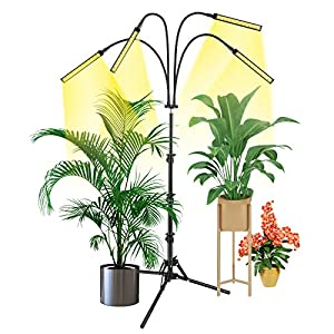 Grow Light with Stand, Slaouwo LED Floor Grow Lights for Indoor Plants, Smart Full Spectrum Grow Lamp with Timer for Seedling, Auto ON/Off, Adjustable Stand & Gooseneck