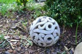 DEKO Kugel Keramik Dekokugel ca. 17cm grau-braun Gartendeko Beetdeko Pflanzdeko Windlicht Shabby rustikal Vintage Ornament Garten Tischdeko Frühling Sommer - 7