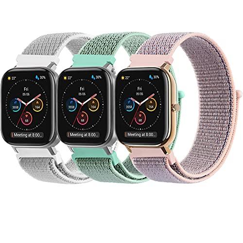 Mugust 3 Pack Correa Compatible con Samsung Galaxy Watch Active 2, 20mm Pulseras de Repuesto de Nylon para Samsung Galaxy Watch Active 2 40mm 44mm / Galaxy Watch 3 41mm / Galaxy Watch 42mm