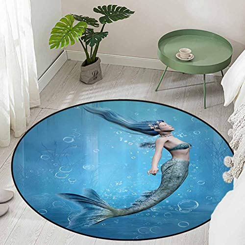 Round Office Chair Floor Mat Foot Pad Mermaid Fishtail Floating Bubbles Mythical Creature Fairy Ocean Life Art Diameter 66 inch Kids Rugs