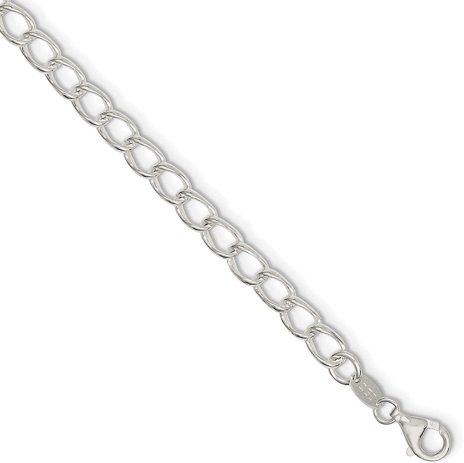 Beautiful Sterling silver 925 sterling Sterling Silver 5.25mm Half round Wire Curb Chain