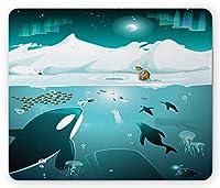 クジラマウスパッド、漁師アイスランドペンギンクラゲと北極圏の水中生物、標準サイズの長方形滑り止めゴムマウスパッド、ダークティールと白