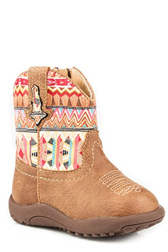 Roper Kids Boys Newborn Tan Leather Print Aztec Top Boot 4 M US Toddler Tan Faux Leather Vamp/Aztec Printed Shaft