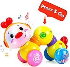 CubicFun Baby Toys Musical Press and Go Inchworm Toy with Light up Face Caterpillar Crawling Educational Toddler Baby Toys 6 to 12 Months 12-18 Months Old, 1 2 3 Year Old Boys Girls