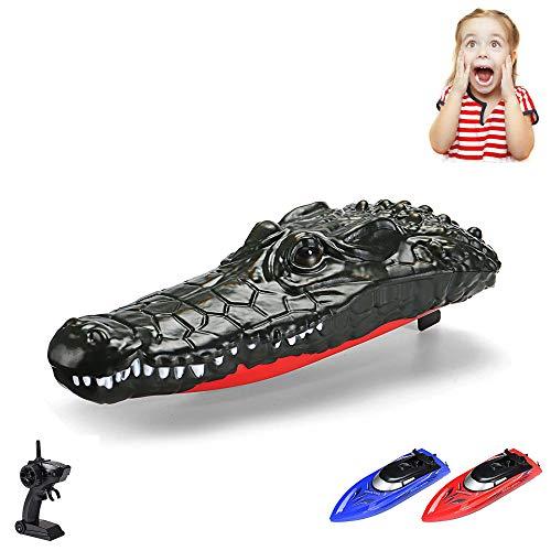 Mando a distancia 2 en 1 RC bote de velocidad con diseño de cocodrilo, bote incl. mando a distancia y batería, ideal para la diversión y los juegos