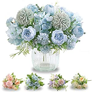 2PCS Artificial Flowers, Fake Peony Bulk Silk Hydrangea Plastic Carnation Daisy Realistic Flowers Layout Wedding Site Decoration Center Piece for Home Office Party Garden Baby Shower Decor