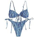FEAPHY Women's String Bikini Frill Trim Tie Side Triangle Swimwear Two Piece Swimsuit (Flower-Blue, S)