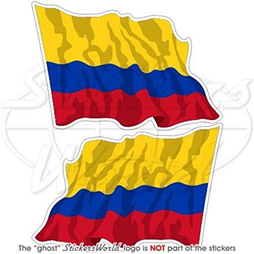 Colombie Colombien Saluant Drapeau Amérique du Sud 7,6 cm (75 mm) en vinyle Bumper Stickers, Stickers x2