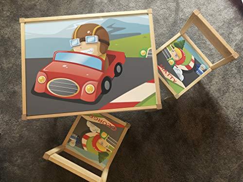MakeThisMine Ikea LATT - Juego de mesa y 1 silla con nombre de madera grabado con ruedas de coche de carreras calientes impresas, juego de escritorio para niños, niñas, amigos, familia