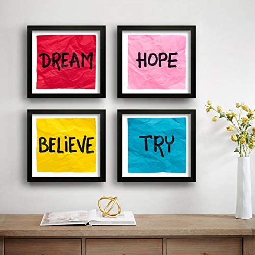 SAF Set of 4 Dream, Hope, Belive, Try Motivational UV Coated Home Decorative Gift Item Framed Painting 19 inch X 19 i...