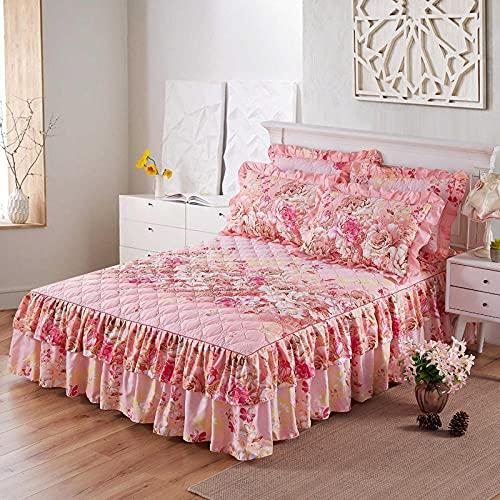 CYYyang Protector de colchón, algodón, poliéster, Hoja de Cama de Encaje de Falda de Cama Engrosada-5_180 * 200cm
