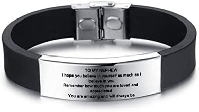 LiFashion LF Boys Stainless Steel Personalized Name Date to My Nephew Bracelet,Silicone Motivational Inspirational Sentiment Cuff Bracelet Bangle for Nephew from Uncle Aunt,Free Engraving Customized