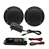 Herdio 160W 4 Inch Bluetooth Ceiling Speaker Kit Amplifier Water Resistant Ceiling Speakers For Bathroom Kitchen Home Outdoor(BLACK)