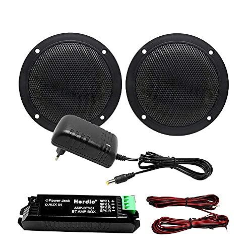 Herdio Kit de haut-parleur Bluetooth de plafond, étanche, pour la salle de bain, la cuisine, la maison et l'extérieur