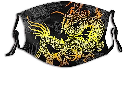 Dragon Face Mask Scarf, Reusable WashableDecorative Masks with 2 Pcs Filters, for Adult Women Men & Teens-Golden Chinese Dragon 3-1 PCS