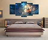 Loveygg Cuadro sobre Lienzo Moderna Pintura sobre Lienzo Sala Estar Dormitorio Decoración Mural Artes Pared Regalo Carteles con Marco 5 Piezas One Piece The Thousand Sunny Anime,150x80cm