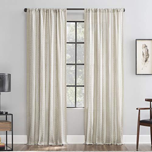 """Archaeo Slub Texture Stripe Cotton Curtain, 52"""" x 96"""", Linen/White"""