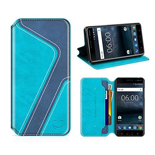 MOBESV Smiley Nokia 6 Hülle Leder, Nokia 6 Tasche Lederhülle/Wallet Hülle/Ledertasche Handyhülle/Schutzhülle mit Kartenfach für Nokia 6, Aqua/Dunkel Blau