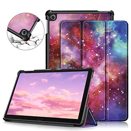 Tmore Custodia Cover per Huawei Mediapad M5 Lite 10 10,1 Pollici Cover con Funzione Supporto e Sonno/Sveglia,Galaxy