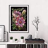 SIRIUSART Lienzo botánico Victoriano Antiguo con impresión de Arte, póster, Flor de la pasión, ilustración, Fondo Negro, Pintura, Cuadro, decoración del hogar (40x60cm), 16'X24 sin Marco