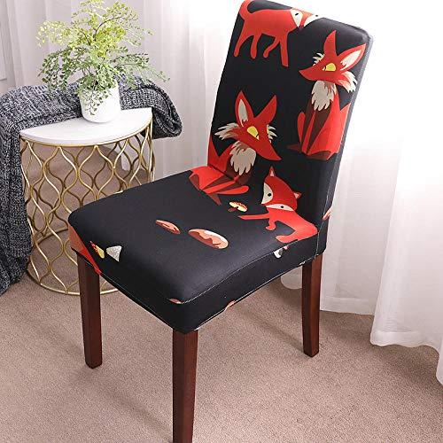Universal stretch stolsskydd djurräv avtagbart stolsskydd modernt skydd säte stol matsal överdrag skydd skydd för hotell fest bankett bröllop bukett 6/set